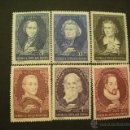 Sellos: RUMANIA 1955 IVERT 1424/9 * GLORIAS DE LA LITERATURA INTERNACIONAL - PERSONAJES. Lote 50001265