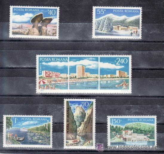 RUMANIA 1971 IVERT 2596/601 *** TURISMO - PAISAJES Y NATURALEZA (Sellos - Extranjero - Europa - Rumanía)