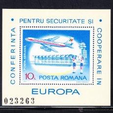 Sellos: RUMANIA HB 129** - AÑO 1977 - AVIONES - CONFERENCIA DE LA SEGURIDAD Y COOPERACION EUROPEA. Lote 54483031