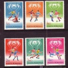 Sellos: RUMANIA 1978 IVERT 3094/99 *** CAMPEONATO DEL MUNDO DE FUTBOL EN ARGENTINA - DEPORTES . Lote 54486839
