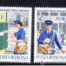 Timbres: RUMANIA 1982 IVERT 3412/3 *** DIA DEL SELLO - CARTEROS. Lote 54541134
