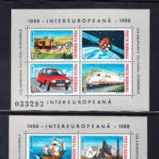 Sellos: RUMANIA HB 193A/93B** - AÑO 1988 - TRANSPORTES Y COMUNICACIONES - BARCOS - AVIONES - TRENES. Lote 55003304