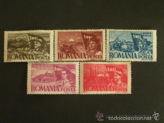 RUMANIA 1947 IVERT 971/5 * CONMEMORACION DEL 1º DE MAYO (Sellos - Extranjero - Europa - Rumanía)