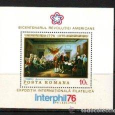Sellos: RUMANIA 1976 HB IVERT 124 *** 2º CENTENARIO DE LA INDEPENDENCIA DE LOS EE.UU. - INTERPHIL-76. Lote 80709930