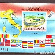 Sellos: RUMANIA 1990 HB IVERT 208B *** COPA DEL MUNDO DE FUTBOL EN ITALIA - DEPORTES. Lote 80726370