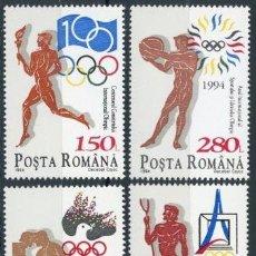 Sellos: RUMANIA 1994 IVERT 4175A/D *** CENTENARIO DEL COMITE OLIMPICO INTERNACIONAL - DEPORTES. Lote 80759282
