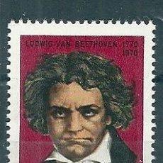 Sellos: RUMANIA 1970 IVERT 2577 *** BICENTENARIO NACIMIENTO MUSICO Y COMPOSITOR LUWIG VAN BEETHOVEN . Lote 87572648