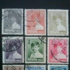 Timbres: RUMANÍA , YVERT Nº 336 - 343 , SERIE COMPLETA , 1928-29. Lote 89240604