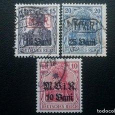 Francobolli: RUMANÍA , OCUPACIÓN ALEMANA, YVERT Nº 1, 2 + 4 , 1917. Lote 89654496