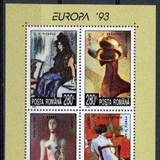 Sellos: RUMANIA 1993 HB IVERT 228 *** EUROPA - ARTE CONTEMPORANEO - PINTURAS DE PICASSO. Lote 92929505