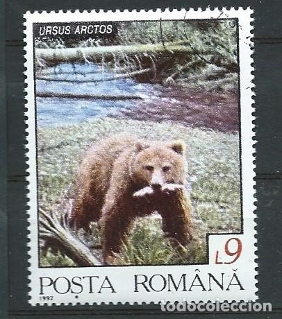RUMANÍA,1992,FAUNA RUMANA,OSO,USADO (Sellos - Extranjero - Europa - Rumanía)