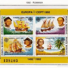Sellos: RUMANIA 1992 - EUROPA CEPT Y DESCUBRIMIENTO DE AMERICA - YVERT BF 220 - MICHEL 271. Lote 121918500