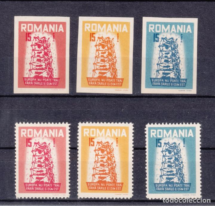 ,,,RUMANIA 6 VALORES DENTADA/SIN DENTAR SIN CHARNELA, PIE IMPRENTA FOURNIER VITORIA TIPO EUROPA 1956 (Sellos - Extranjero - Europa - Rumanía)