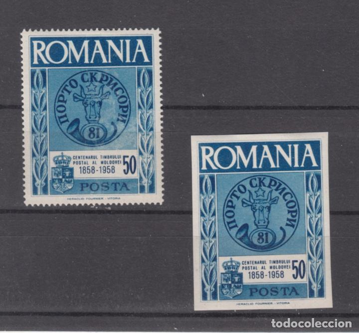 ,,,RUMANIA 2 VALORES DENT Y S/D CON CHARNELA, CENTº SELLO RUMANO DE MOLDAVIA, PIE IMPRENTA HERACLIO+ (Sellos - Extranjero - Europa - Rumanía)