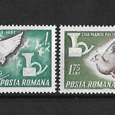 Sellos: RUMANIA 1965 DIA DEL SELLO SERIE COMPLETA NUEVOS SIN CHARNELA. Lote 106086239