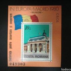 Sellos: RUMANÍA. YVERT HB-146. SERIE COMPLETA NUEVA SIN CHARNELA CONFERENCIA SEGURIDAD MADRID 1980. BANDERAS. Lote 111934263