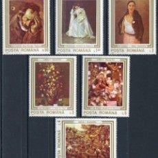 Sellos: RUMANIA 1990 IVERT 3909/14 *** OBRAS DE ARTE DETERIORADAS DURANTE LA REVOLUCIÓN DE 1989 - PINTURA. Lote 116940259