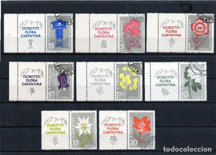 ++ RUMANIA / ROMANIA / ROEMENIE AÑO 1957 YVERT NR.1517/24 CON VIÑETA USADO FLORES FLEURES FLORII (Sellos - Extranjero - Europa - Rumanía)