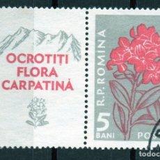 Sellos: ++ RUMANIA / ROMANIA / ROEMENIE CON VIÑETA AÑO 1957 YVERT NR.1517 USADO FLORES. Lote 29668923
