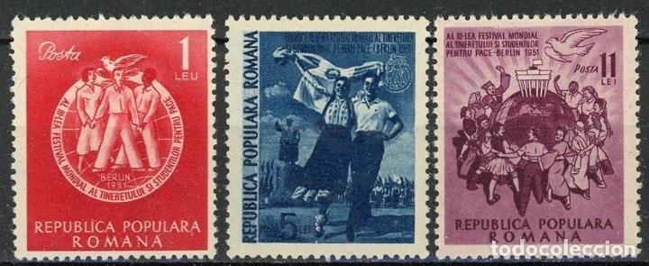 RUMANIA 1951 IVERT 1152/4 * 3º FESTIVAL MUNDIAL DE LA JUVENTUD EN BERLIN (Sellos - Extranjero - Europa - Rumanía)