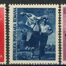 Sellos: RUMANIA 1951 IVERT 1152/4 * 3º FESTIVAL MUNDIAL DE LA JUVENTUD EN BERLIN. Lote 121724587