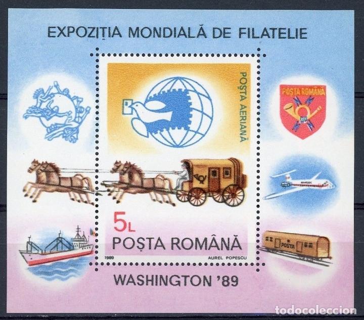 RUMANIA 1989 HB IVERT 206 *** EXPOSICIÓN FILATÉLICA MUNDIAL EN WASHINGTON - CARROZA POSTAL (Sellos - Extranjero - Europa - Rumanía)