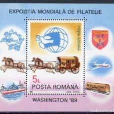 Sellos: RUMANIA 1989 HB IVERT 206 *** EXPOSICIÓN FILATÉLICA MUNDIAL EN WASHINGTON - CARROZA POSTAL. Lote 121726679