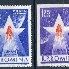 Sellos: RUMANIA 1963 AEREO IVERT 173/4 *** INVESTIGACIONES ESPACIALES - LUNIK IV - CONQUISTA DEL ESPACIO. Lote 122800331