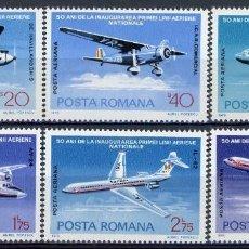 Sellos: RUMANIA 1976 AEREO IVERT 239/44 *** 50º ANIVERSARIO DE LA PRIMERA LINEA AEREA NACIONAL - AVIONES. Lote 122803955