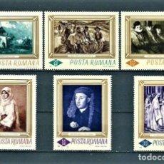 Sellos: RUMANÍA,1966,PRIMERA SERIE DE PINTURA,NUEVOS,MNH**,YVERT 2248-2253. Lote 129201410
