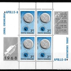 Sellos: RUMANIA 1969. ÓRBITA LUNAR. APOLLO 8. ESPACIO. YT HB 70 NUEVO (MNH). Lote 133673974