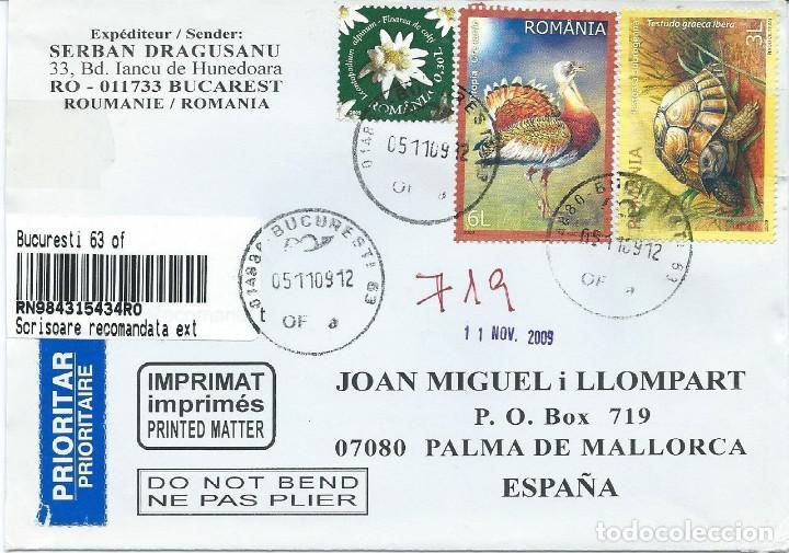 2009. RUMANIA. SOBRE CIRCULADO. ATRACTIVO FRANQUEO. FLORA. FAUNA. AVES/BIRDS. TORTUGAS/TURTLES. (Sellos - Extranjero - Europa - Rumanía)