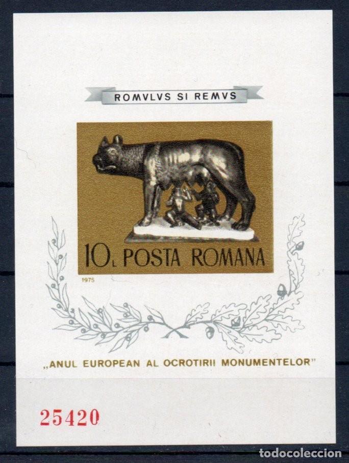 RUMANIA AÑO 1975 YV HB 119A*** SIN DENTAR - MNH - AÑO DE LOS MONUMENTOS EUROPEOS - ESCULTURA - ARTE (Sellos - Extranjero - Europa - Rumanía)