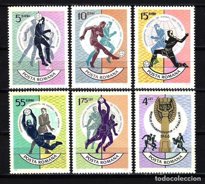 1966 RUMANÍA YVERT YV 2254/2259 MNH** NUEVOS SIN CHARNELA - DEPORTES MUNDIAL DE FÚTBOL INGLATERRA (Sellos - Extranjero - Europa - Rumanía)