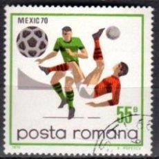Sellos: RUMANIA - 3 SELLOS IVERT 2539-0-1 (3 VALORES) - MUNDIAL DE FUTBOL 1970 - NUEVO MATASELLADO GOMA ORIG. Lote 151420662