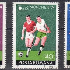 Sellos: RUMANIA - 3 SELLOS IVERT 2846-7-8 (3 VALORES) - MUNDIAL DE FUTBOL 1974 - NUEVO MATASELLADO GOMA ORIG. Lote 151421054