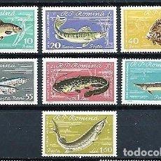 Sellos: RUMANÍA,1960,PECES DEL MAR NEGRO,NUEVOS,MNH**,YVERT 1741-1747. Lote 151890174