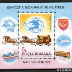 Timbres: ++ HB RUMANIA / ROMANIA / ROEMENIE AÑO 1989 YVERT NR.206 NUEVA EXPO. FILATÉLICA WASHINGTON. Lote 153143206