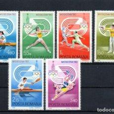 Francobolli: ++ RUMANIA / ROMANIA / ROEMENIE AÑO 1980 YVERT NR. 3289/94 NUEVA J.O. MOSCOVA. Lote 157929522