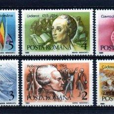 Francobolli: ++ RUMANIA / ROMANIA / ROEMENIE AÑO 1989 YVERT NR.3860/65 NUEVA REVOLUCION FRANCESA. Lote 160788378