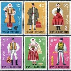 Sellos: RUMANIA 1973 IVERT 2745/50 *** TRAJES TIPICOS REGIONALES - FOLKLORE. Lote 161138738