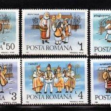Francobolli: ++ RUMANIA / ROMANIA / ROUMANIE AÑO 1986 YVERT NR. 3718/23 NUEVA TRAJES DE INVIERNO. Lote 163488138