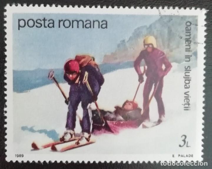 1989. DEPORTES. RUMANÍA. 3837. RESCATE EN MONTAÑA. SERIE CORTA. USADO. (Sellos - Extranjero - Europa - Rumanía)
