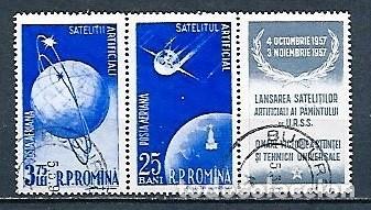 RUMANÍA,1957,SATÉLITES ARTIFICIALES, UNIDOS CON VIÑETA,VERT 70 Y 72 (Sellos - Extranjero - Europa - Rumanía)