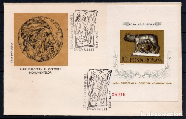 RUMANIA AÑO 1975 SPD YV HB 119A*** SIN DENTAR - AÑO DE LOS MONUMENTOS EUROPEOS - ESCULTURA - ARTE (Sellos - Extranjero - Europa - Rumanía)