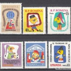 Sellos: RUMANIA, 1960 YVERT Nº 1733 / 1738 /**/, TEATRO / MARIONETAS. SIN FIJASELLOS. . Lote 177436113