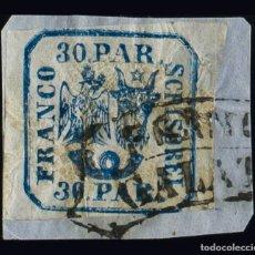 Sellos: RUMANÍA. ºYV 10. 1862. 30 P AZUL, SOBRE FRAGMENTO (UN MARGEN JUSTO). MATASELLO FRANCO / GALATI. BON. Lote 183149441