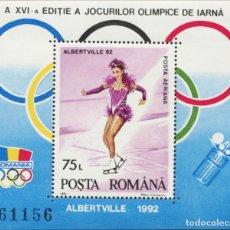 Sellos: RUMANIA 1992 HB IVERT 215 *** JUEGOS OLIMPICOS DE INVIERNO EN ALBERTVILLE - DEPORTES. Lote 193091032