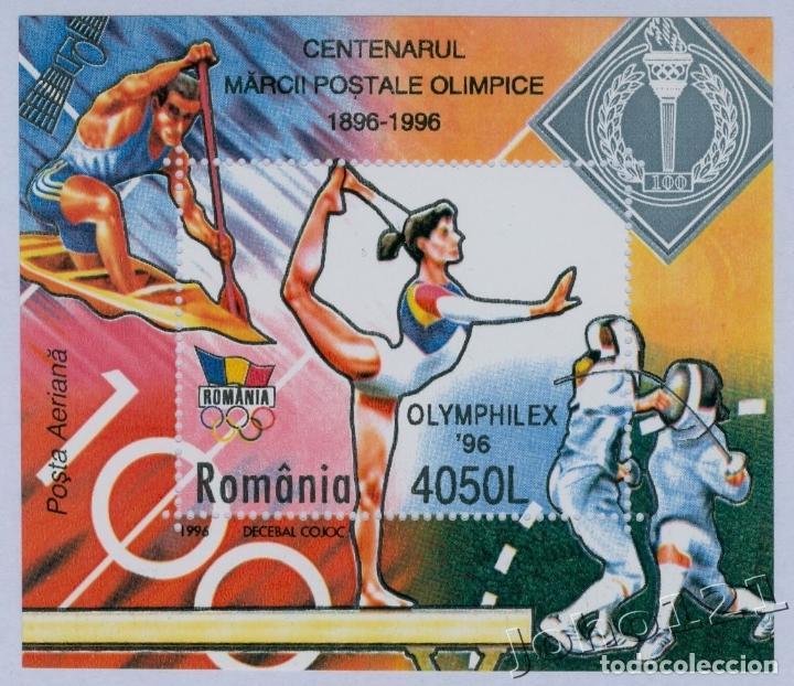 RUMANIA 1996 HB IVERT 245 *** CENTENARIO JUEGOS OLIMPICOS MODERNOS Y OLYMPHILEX-96 - DEPORTES (Sellos - Extranjero - Europa - Rumanía)