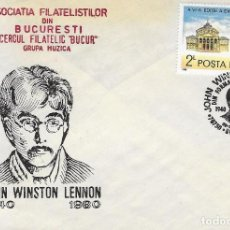 Francobolli: SOBRE COMMEMORATIVO RUMANIA, JOHN LENNON , FOTO ORIGINAL. Lote 199743808
